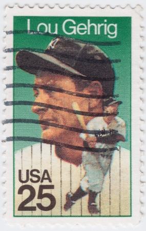 gehrig: USA - CIRCA 1953 : stamp printed in USA shows Lou Gehrig American Major League Baseball first baseman, circa 1953