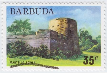 collectible: BARBUDA - CIRCA 1976: stamp printed in Barbuda shows Martello Tower, circa 1976 Stock Photo