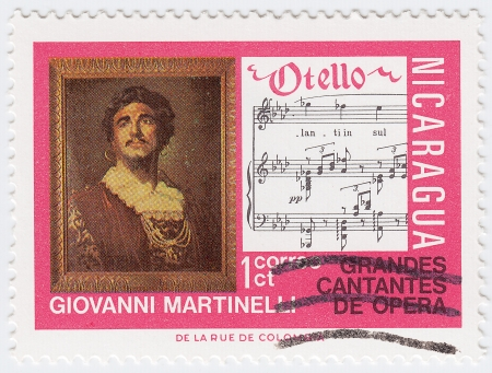 NICARAGUA - CIRCA 2008 : stamp printed in Nicaragua shows Giovanni Martinello is an great  Italian tenor and notes opera of Otello, circa 2008 Stock Photo - 16232902