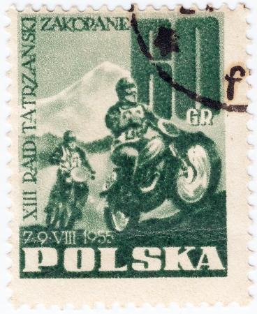 POLAND - CIRCA 1955: A stamp printed in Poland shows motocross, circa 1955 Stock Photo - 16239966