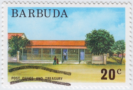 treasury: BARBUDA - CIRCA 1976: stamp printed in Barbuda shows Post Office And Treasury, circa 1976