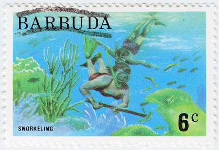 BARBUDA - CIRCA 1976  stamp printed in Barbuda shows image with Snorkeling, circa 1976 photo