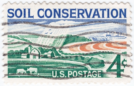soil conservation: USA - CIRCA 1959   stamp printed in USA shows Soil Conservation farm, circa 1959  Stock Photo