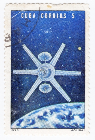 CUBA - CIRCA 1973 : stamp printed in Cuba shows the soviet space station Molnia, circa 1973  Stock Photo - 16284252