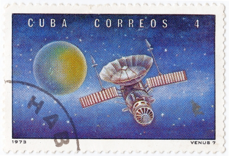 CUBA - CIRCA 1973 : stamp printed in Cuba shows the soviet Venus space station, circa 1973 Stock Photo - 16284266