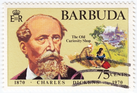 BARBUDA - CIRCA 1970 : stamp printed in Barbuda show Great Britan writer Charles Dickens, circa 1970  Stock Photo - 16284170
