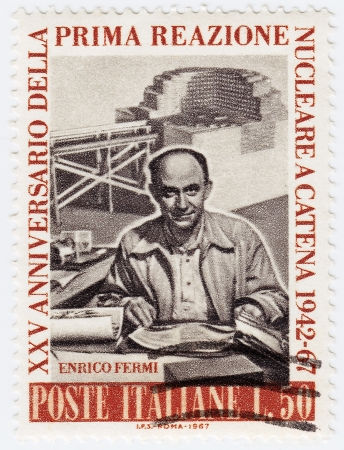 physicist: ITALY - CIRCA 1967 : stamp printed in Italy shows Enrico Fermi Italian American physicist, circa 1967