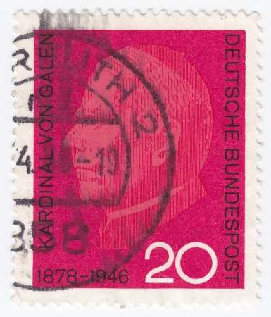 munster: GERMANY - CIRCA 1966: stamp printed in Germany shows Cardinal von Galen, Clemens August Cardinal Count von Galen, anti-Nazi Bishop of Munster, circa 1966  Editorial