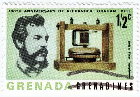 innovator: GRENADA - CIRCA 1997 : stamp printed in Grenada shows Alexander Graham Bell  scientist, inventor, engineer, innovator and creator of the telephone, circa 1997