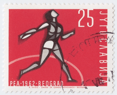 YUGOSLAVIA - CIRCA 1962 : stamp printed in Yugoslavia shows the Sport Games in Belgrad, circa 1962 Stock Photo - 16284209