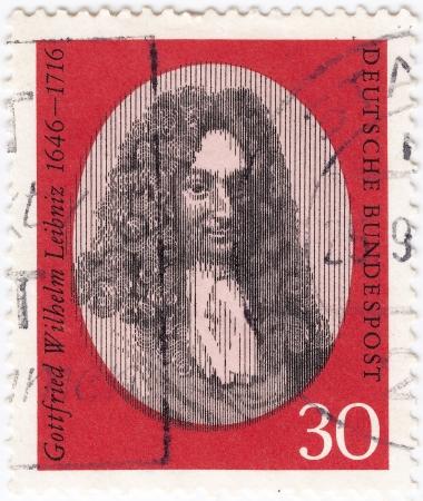 GERMANY - CIRCA 1966: stamp printed in Germany shows Gottfried Wilhelm Leibniz, philosopher and mathematician, circa 1966  Stock Photo - 16284217