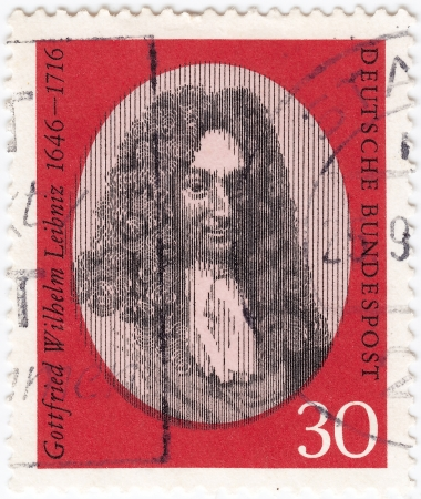 GERMANY - CIRCA 1966: stamp printed in Germany shows Gottfried Wilhelm Leibniz, philosopher and mathematician, circa 1966  Stock Photo - 16284217