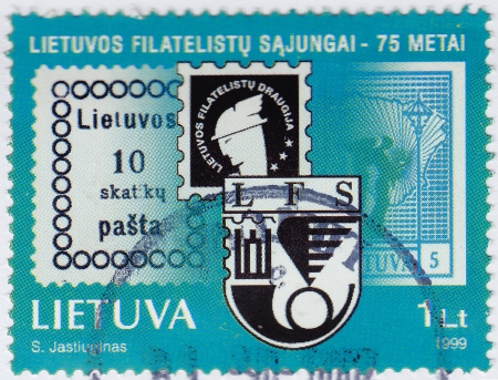 philately: LITHUANIA - CIRCA 1999 : stamp printed in Lithuania shows 75 Anniversary Philately  Forum, circa 1999 Editorial