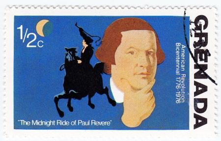 revere: USA - CIRCA 1976 : stamp printed in the USA shows The Midnight Ride of Paul Revere, American revolution Bicentennial, circa 1976