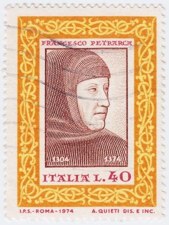 francesco: ITALY - CIRCA 1974 : stamp printed in Italy shows Francesco Petrarca (Petrarch) Italian scholar, poet, circa 1974