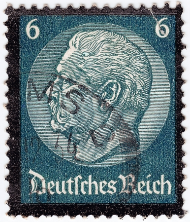 hindenburg: GERMANY REICH - CIRCA 1933: stamp printed in Germany shows portrait President Hindenburg, circa 1933