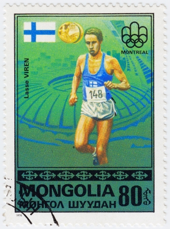 MONGOLIA - CIRCA 1976 : Stamp printed in Mongolia shows Olympic athlete Lasse Viren in Montreal games, circa 1976 Stock Photo - 16284221