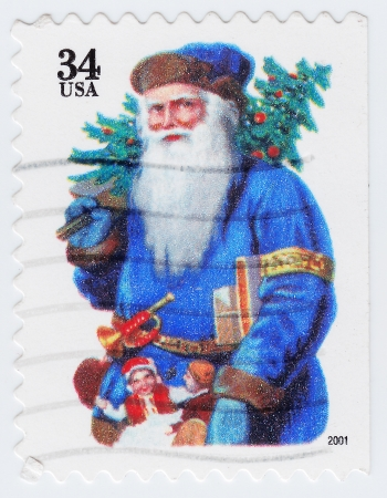 UNITED STATES - CIRCA 2001 : stamp printed in United States shows Santa Claus in old classic vintage style, circa 2001 Stock Photo - 16284182