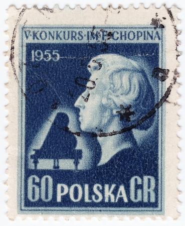 frederic: POLONIA - CIRCA 1955: sello impreso en Polonia muestra compositor Frederic Chopin, circa 1955