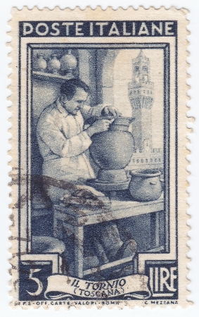 ITALY - CIRCA 1950: stamp printed in Italy, shows Potter, Piazza della Signoria, Florence (Tuscany) traditional work of Italians, circa 1950 Stock Photo - 16284238