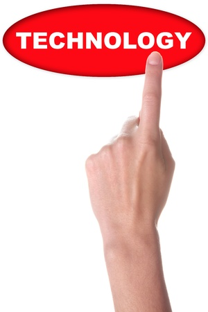 hand with big red button isolated on white photo