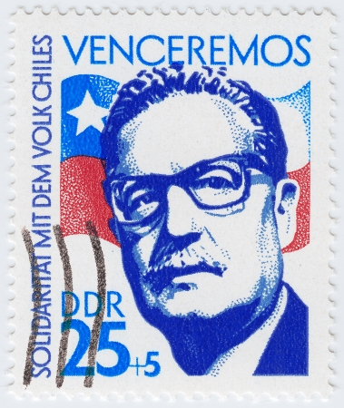 salvador allende: GERMANY - CIRCA 1983 : stamp printed in Germany showing Salvador Allende 29th President of Chile, circa 1983