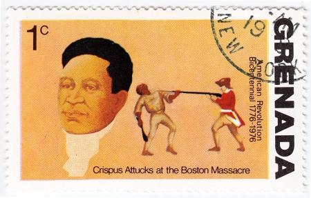 massacre: GRENADA - CIRCA 1976 : stamp printed in Grenada shows Crispus Attucks at The Boston Massacre, American revolution Bicentennial, circa 1976  Editorial