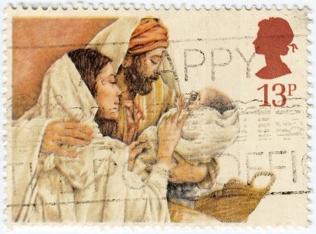 gilbert: UNITED KINGDOM - CIRCA 1984 : stamp printed in UK shows Christmas, Crayon Sketches by Yvonne Gilbert, circa 1984