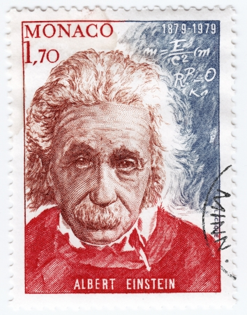 albert: MONACO - CIRCA 1989 : stamp printed in Monaco shows Physicist Albert Einstein, circa 1989 Editorial