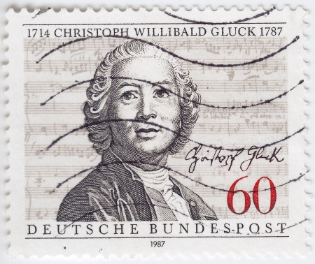 GERMANY - CIRCA 1987: stamp printed in Germany shows portrait of Christoph Willibald Gluck, circa 1987 Stock Photo - 16284306