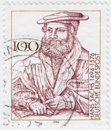 GERMANY - CIRCA 1994: stamp printed in the Germany, dedicated to the 500th anniversary of the birth Hans Sachs, circa 1994 Stock Photo - 16284329
