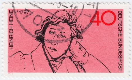 GERMANY- CIRCA 1972 : Stamp printed in Germany shows Henrich Heine, circa 1972 Stock Photo - 16284340