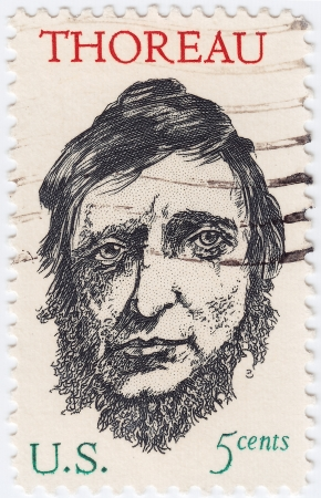 henry: USA - CIRCA 1967 : stamp printed in the USA shows Henry David Thoreau was an American author, poet, circa 1967 Editorial