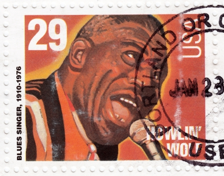 blues: USA - CIRCA 1994 : stamp printed in USA shows blues singer Howlin Wolf, circa 1994 Editorial