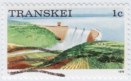 TRANSKEI - CIRCA 1976: stamp printed in Transkei shows image of the Lubisi Dam, circa 1976 Stock Photo - 16284357