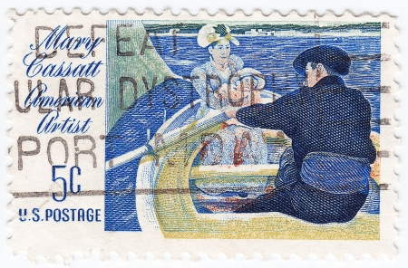 united states postal service: USA - CIRCA 1970 : stamp printed in USA showing Mary Cassatt american artist, circa 1970