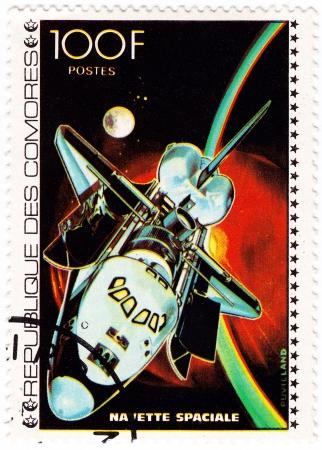 comores: COMORES - CIRCA 1980: stamp printed in Comores shows shuttle NASA in space mission, circa 1980