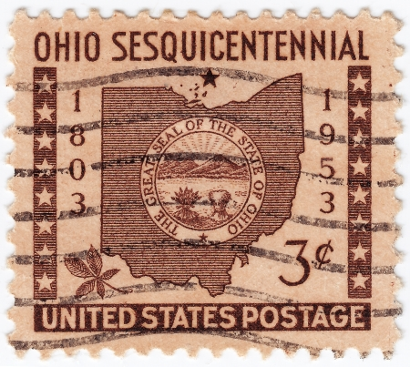 USA - CIRCA 1953 : stamp printed in USA show Ohio State Sesquicentennial, circa 1953 Stock Photo - 16284302