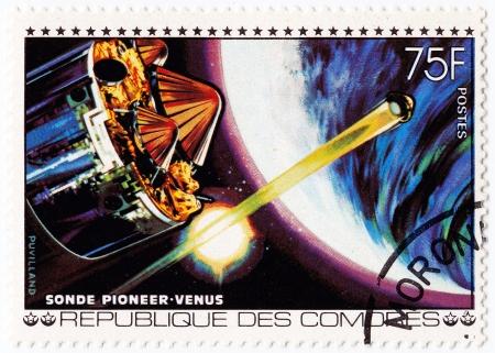comores: COMORES - CIRCA 1980 : stamp printed in Comores shows Pioneer space station NASA in Venus mission, circa 1980 Editorial