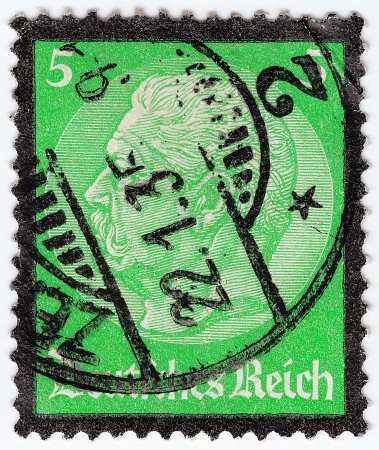 GERMANY REICH - CIRCA 1933: stamp printed in Germany shows portrait President Hindenburg, circa 1933  Stock Photo - 16284345