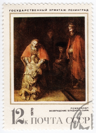 overprint: USSR - CIRCA 1970 : stamp printed in USSR shows a picture of artist Rembrandt  - Returning of the prodigal son, circa 1970 Editorial