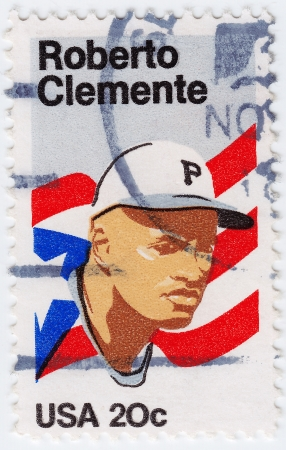USA - CIRCA 1972 : stamp printed in USA shows Roberto Clemente Walker Puerto Rican Major League Baseball right fielder, circa 1972