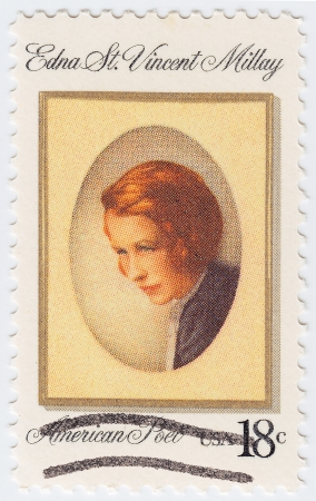 essayist: USA - CIRCA 1997 : stamp printed in USA shows Edna St Vincent Millay american poet, circa 1997