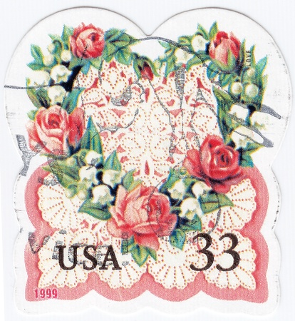 USA - CIRCA 1999 : stamp printed in USA shows roses in retro style pic, circa 1999  Stock Photo - 16284301