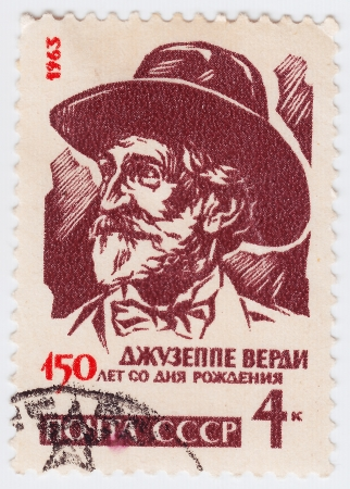 verdi: RUSSIA - CIRCA 1963 : stamp printed in Russia shows Giuseppe Verdi, circa 1963