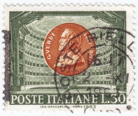 postmarked: ITALY - CIRCA 1963 : stamp printed in Italy shows Giuseppe Verdi, circa 1963 Editorial