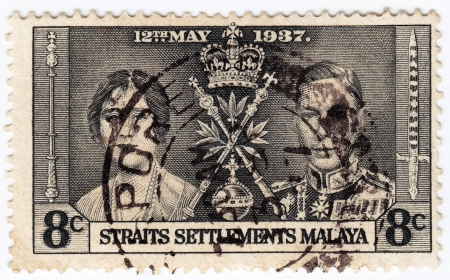 malaya: MALAYA - CIRCA 1937 : stamp printed in Malaya showing king George VI Coronation  with Elizabeth Bowes-Lyon, circa 1937