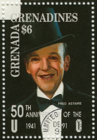 choreographer: GRENADA - CIRCA 1991 : stamp printed in Grenada with Fred Astaire - American film and Broadway stage dancer, choreographer, singer and actor, circa 1991