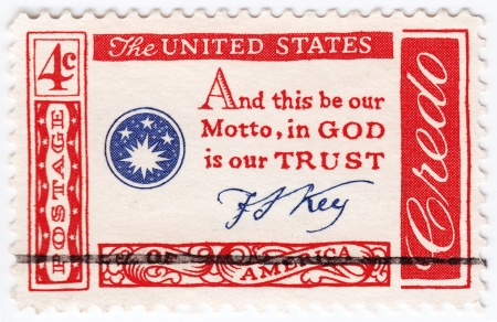 in god we trust: USA - CIRCA 1960 : stamp printed in USA quotation by Francis Scott Key - And this be our motto, In God we trust, circa 1960