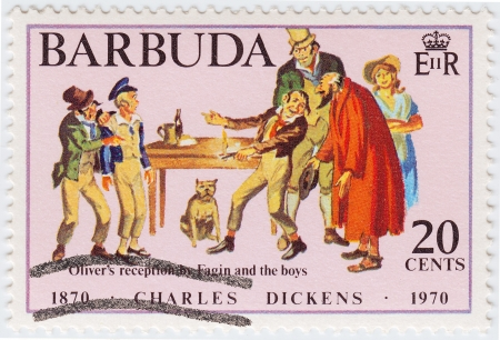 BARBUDA - CIRCA 1970 : stamp printed in Barbuda honored Great Britan writer Charles Dickens, circa 1970 Stock Photo - 16362514